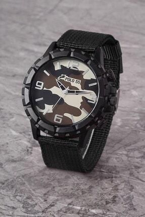 Polo55 Plek001r04 Askeri Kamuflaj Desenli , Nato Örme Kayışlı , Erkek Siyah Kol Saati
