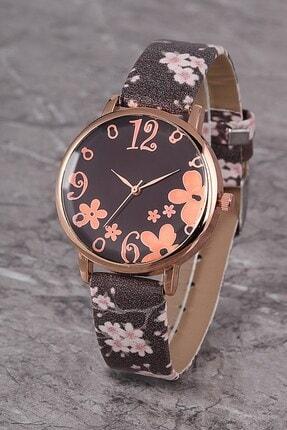 Polo55 Plkk006r02 Kadın Saat Numaralı Çiçekli Kadran Deri Kordon