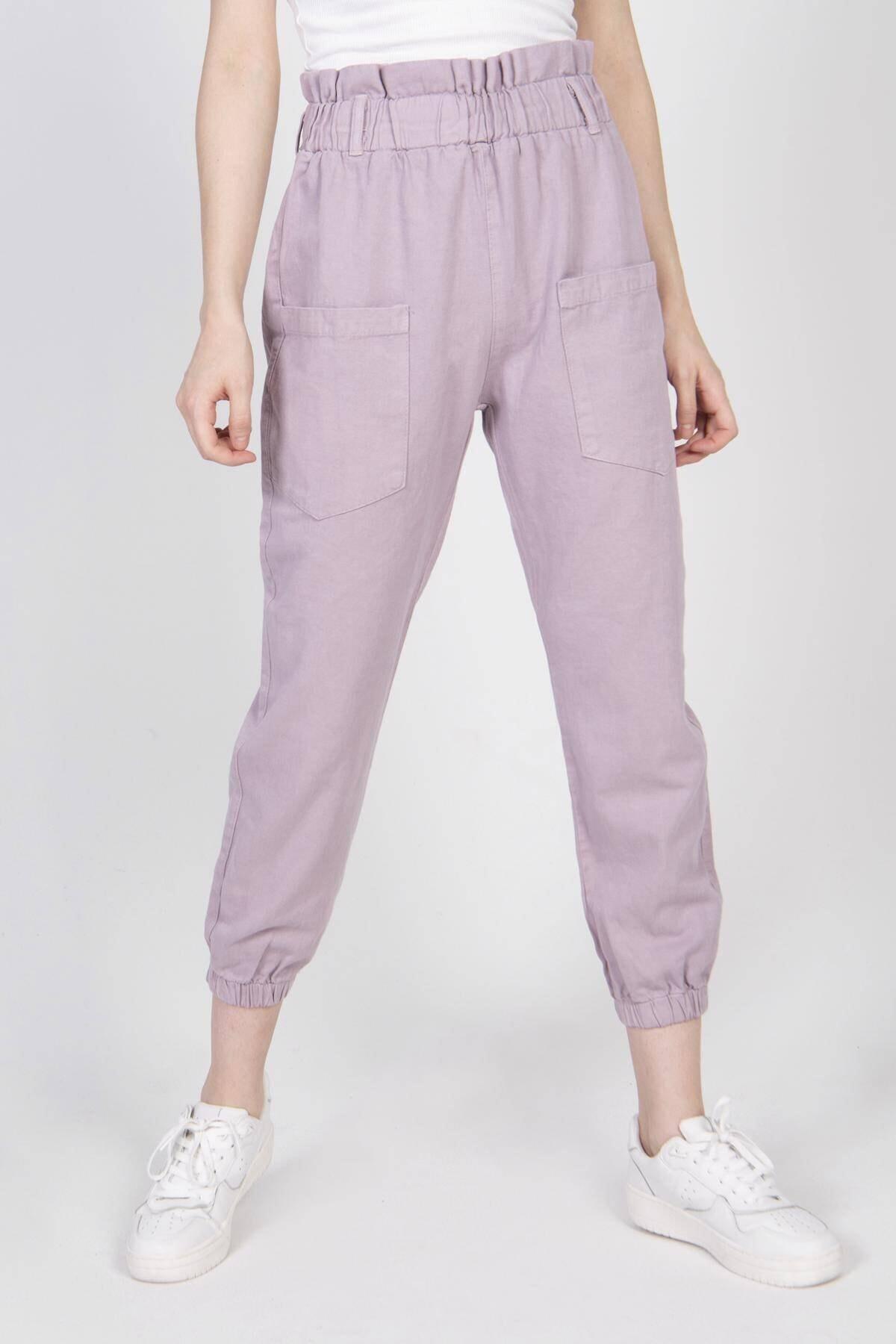 Addax Kadın Lila Cep Detaylı Pantolon Pn4139 Pnd 2