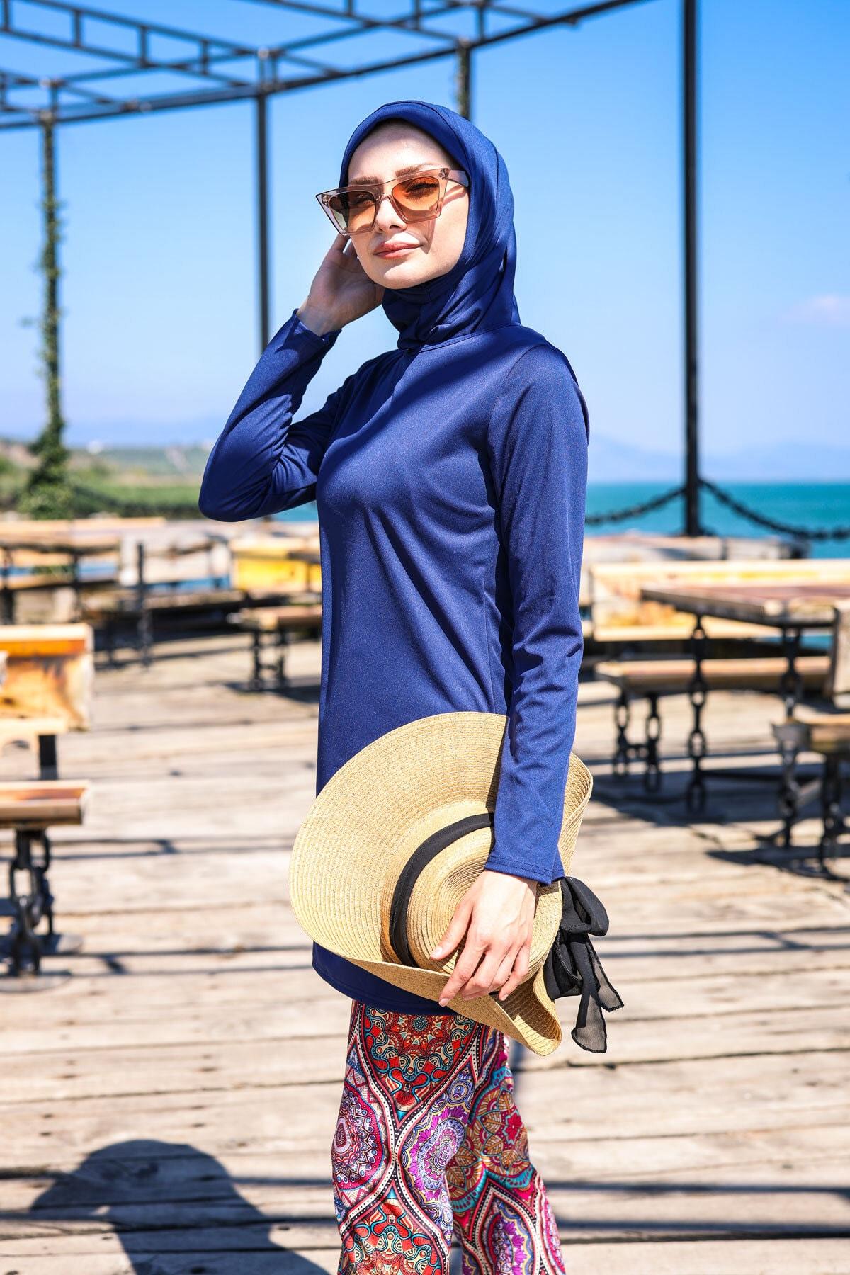 Marina Desenli Tayt Modelli Tam Kapalı Tesettür Mayo R1009 Lacivert