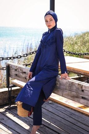 Marina Püsküllü Basic Model Fermuarlı Tam Kapalı Tesettür Mayo 1998 Lacivert