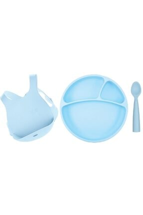 Oioi Mavi Beslenme Seti (önlük+tabak+kaşık)