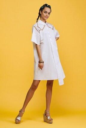adL Kadın Beyaz Nakışlı Gömlek Elbise
