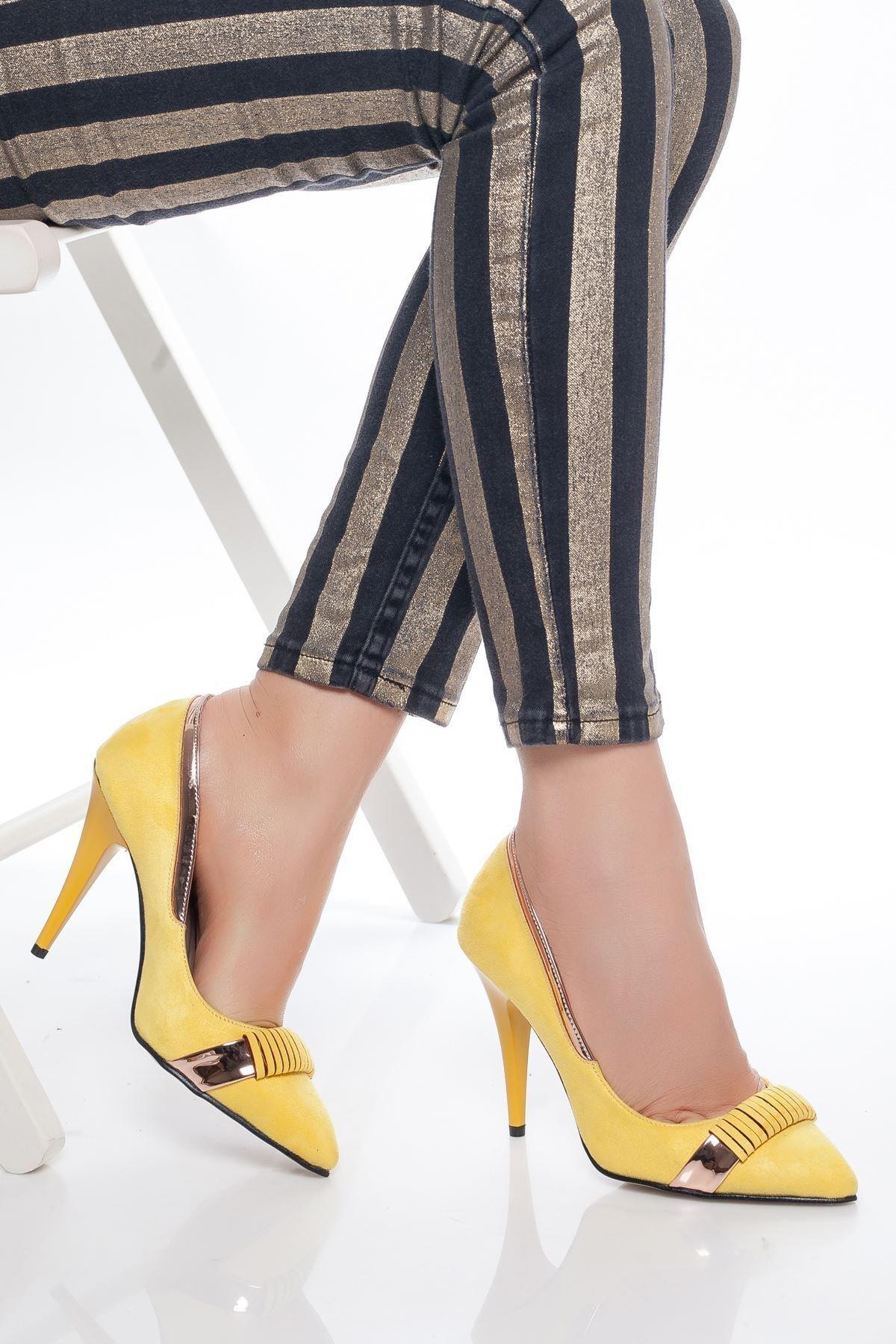 derithy -klasik Topuklu Ayakkabı-sarı Süet 1