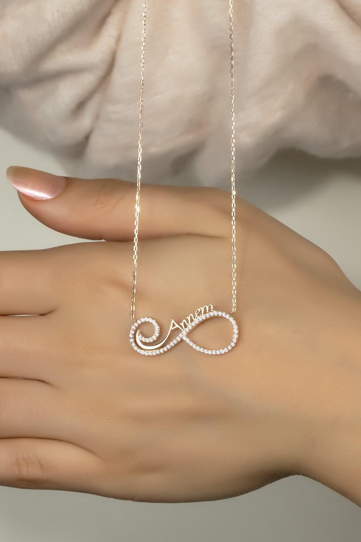 Else Silver 925 Ayar Gümüş Annem Yazılı Sonsuzluk Kolye 1