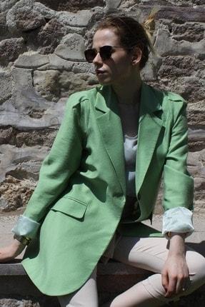 Lefon Kadın Yeşil Keten Uzun Blazer Ceket