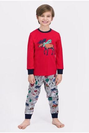 ROLY POLY Erkek Çocuk Açık Kırmızı Winter Forest Deer Pijama Takımı