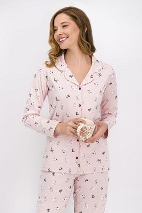 ROLY POLY Kadın Somon Little Cats Gömlek Pijama Takımı