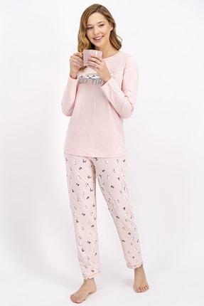 ROLY POLY Kadın Somon Tired Cat Pijama Takımı