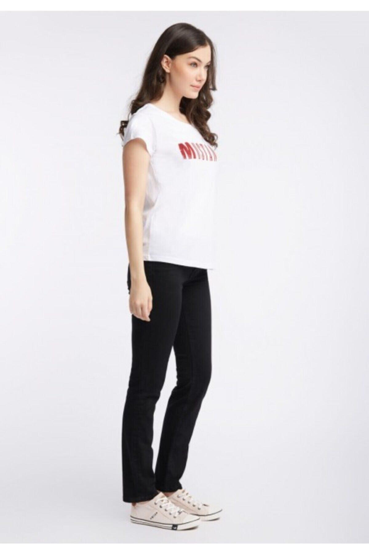 Mustang Kadın Beyaz Klasik Logo T-shirt 2