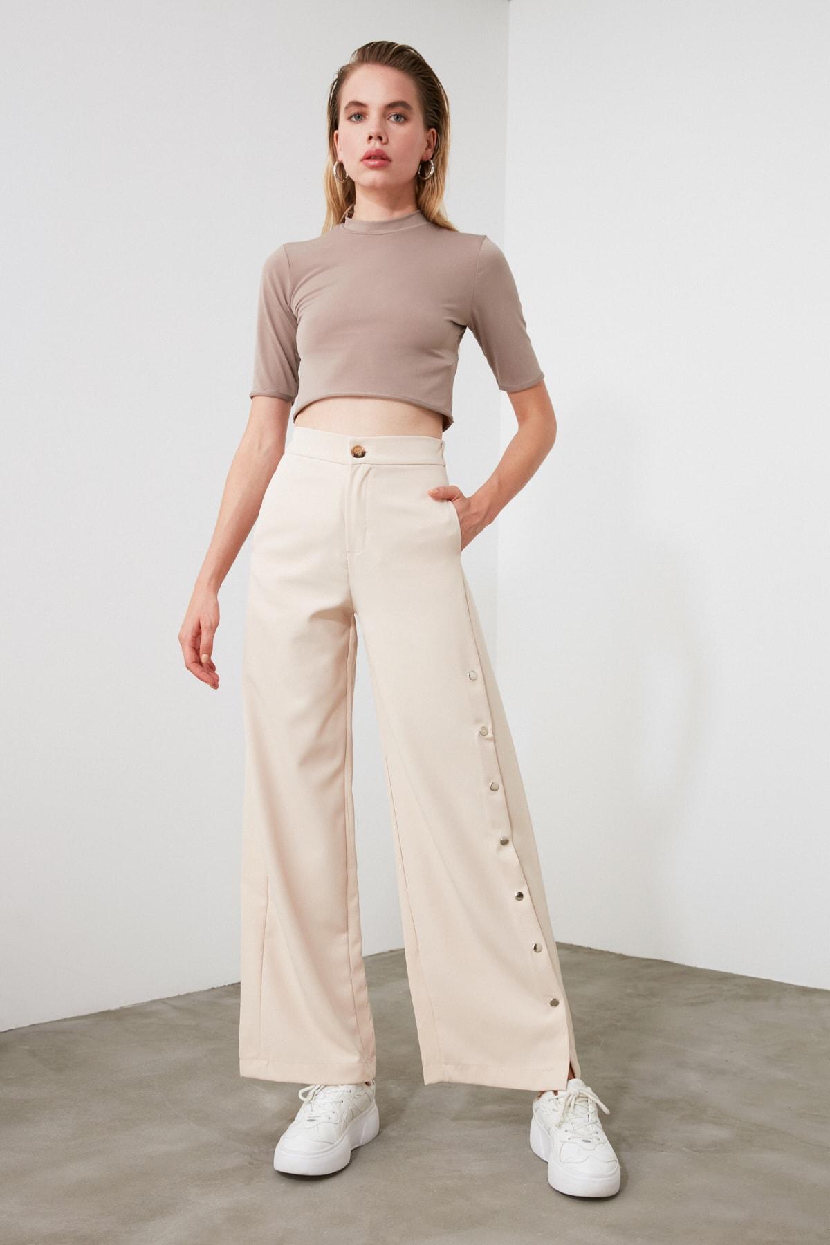 TRENDYOLMİLLA Taş Yanları Çıtçıtlı Geniş Paça Pantolon TWOSS20PL0398 2