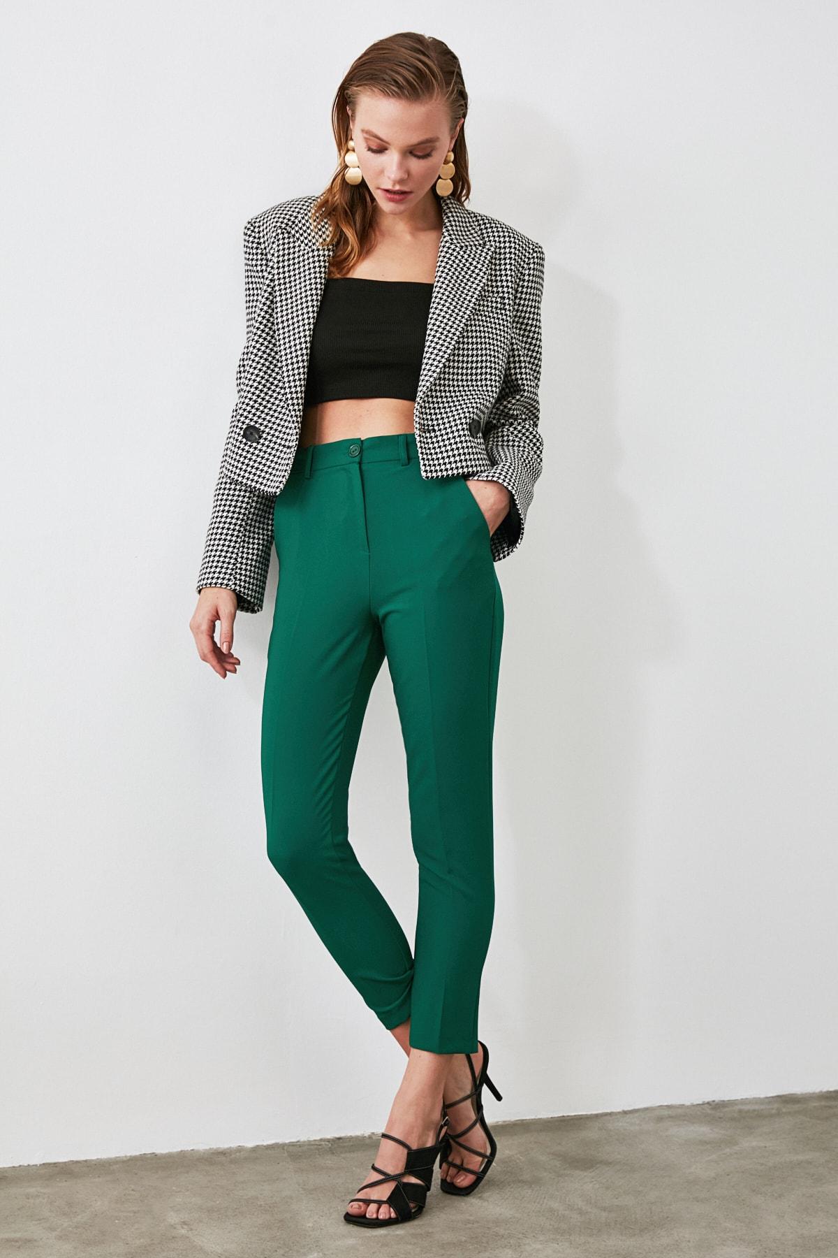 TRENDYOLMİLLA Yeşil Cigarette Pantolon TWOSS19ST0038 1