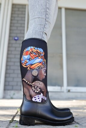 USLUDAN Kadın Siyah Desenli Yağmur Çizmesi Sb20507