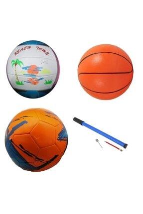 Efe Toys Çocuk Yetişkin Futbol Topu Voleybol Topu Basketbol Topu Seti + Pompa