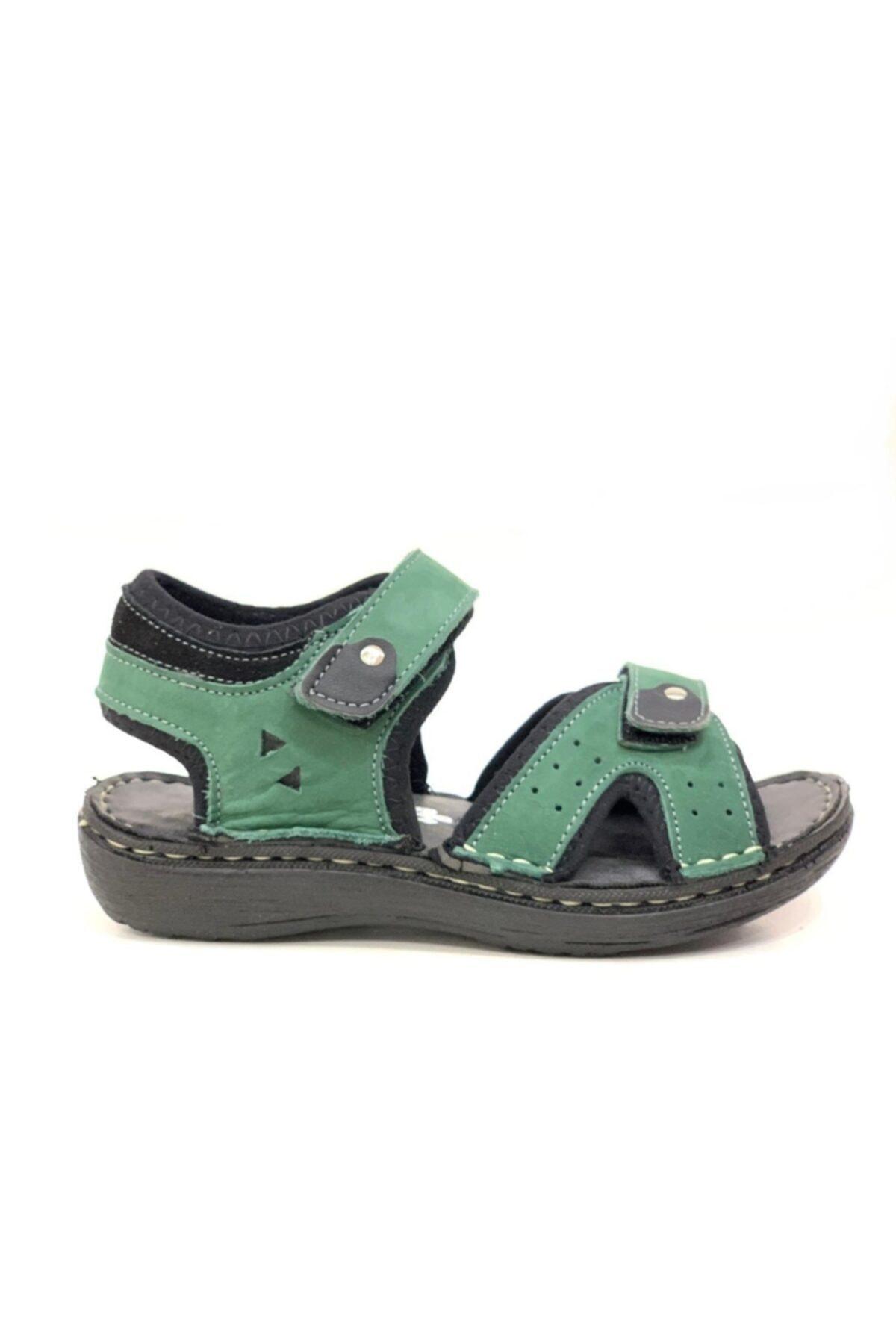Toddler Erkek Çocuk Yeşil Hakiki Deri Sandalet 1