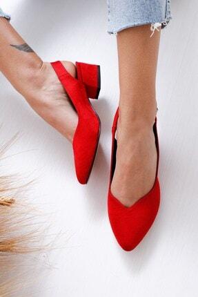 Hayalimdeki Ayakkabı Kadın Kırmızı Süet Valentina Topuklu Ayakkabı