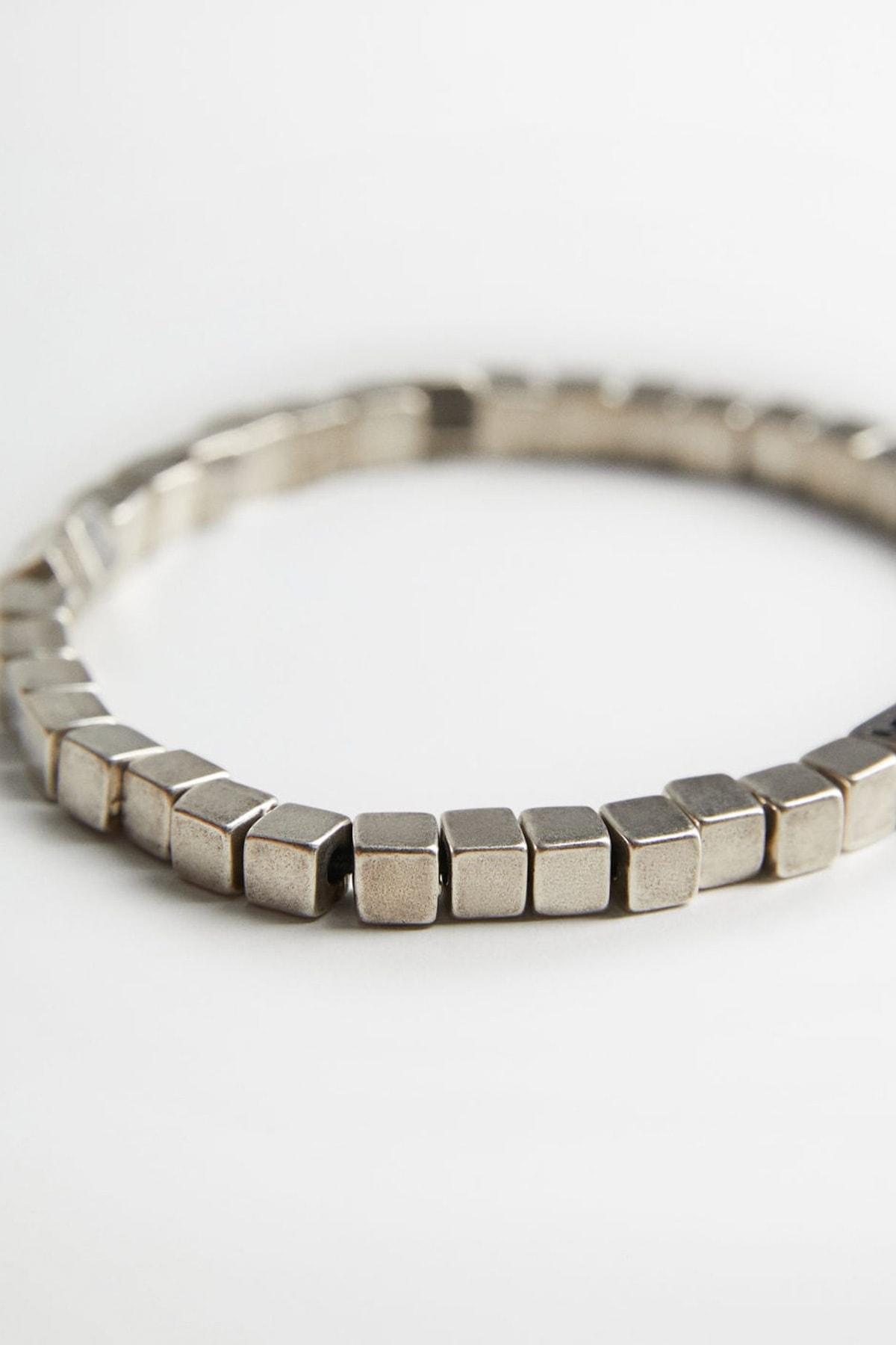 MANGO Man Erkek Gümüş Rengi Halkalı Metal Bileklik 77091002 2