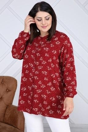 NEW WORLD Büyük Beden Çiçekli Dügmeli Bayan Gömlek/bluz