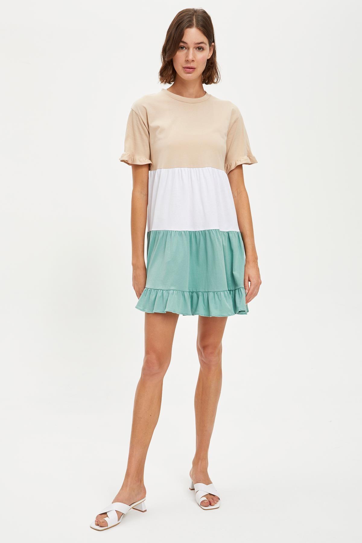 DeFacto Kadın Mınt Renk Bloklu Mini Boy Örme Elbise S6701AZ20HS