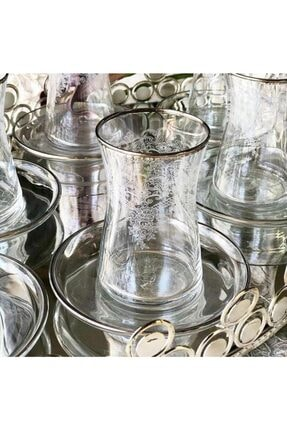 Paşabahçe El Dekorlu Çiçek Desenli 6 Kişilik 12 Parça Çay Cam Bardağı Seti