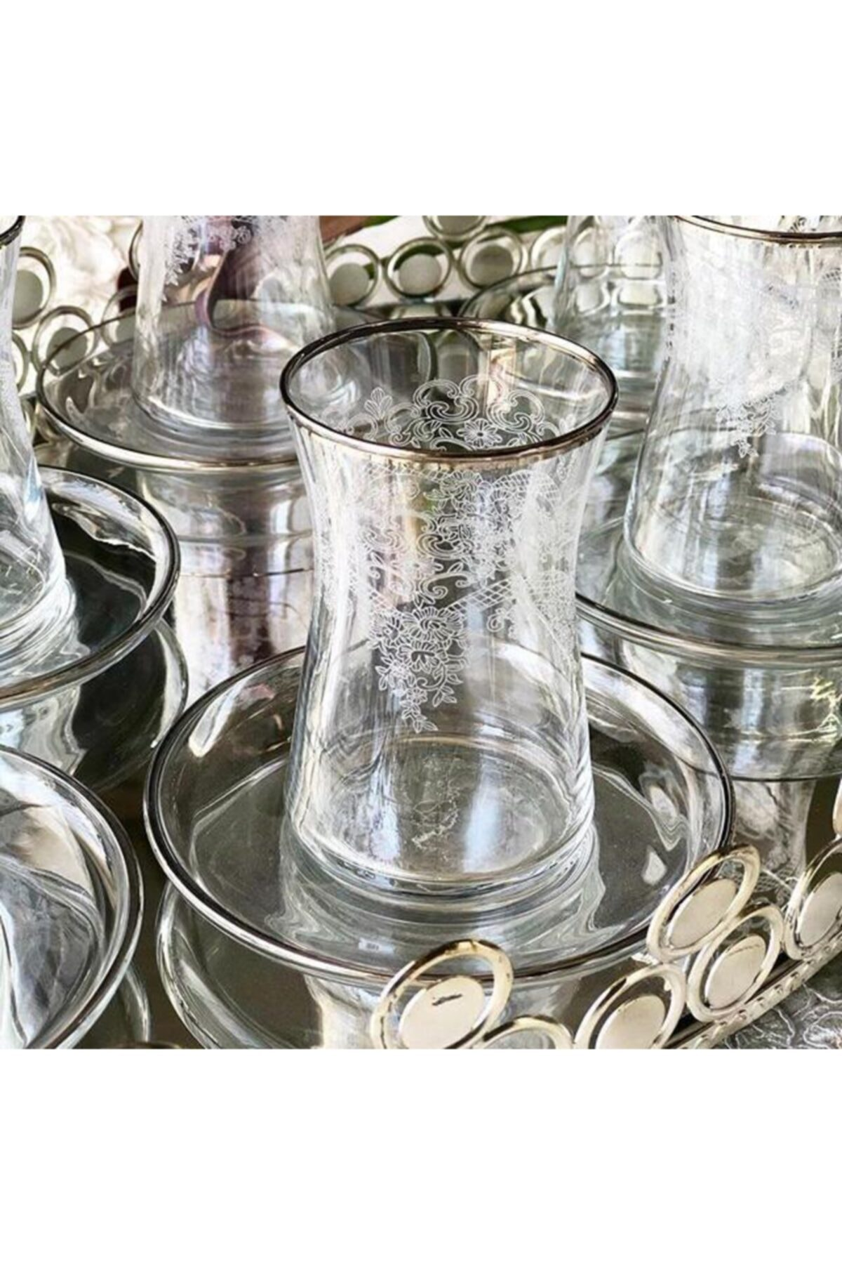 Paşabahçe El Dekorlu Çiçek Desenli 6 Kişilik 12 Parça Çay Cam Bardağı Seti 1