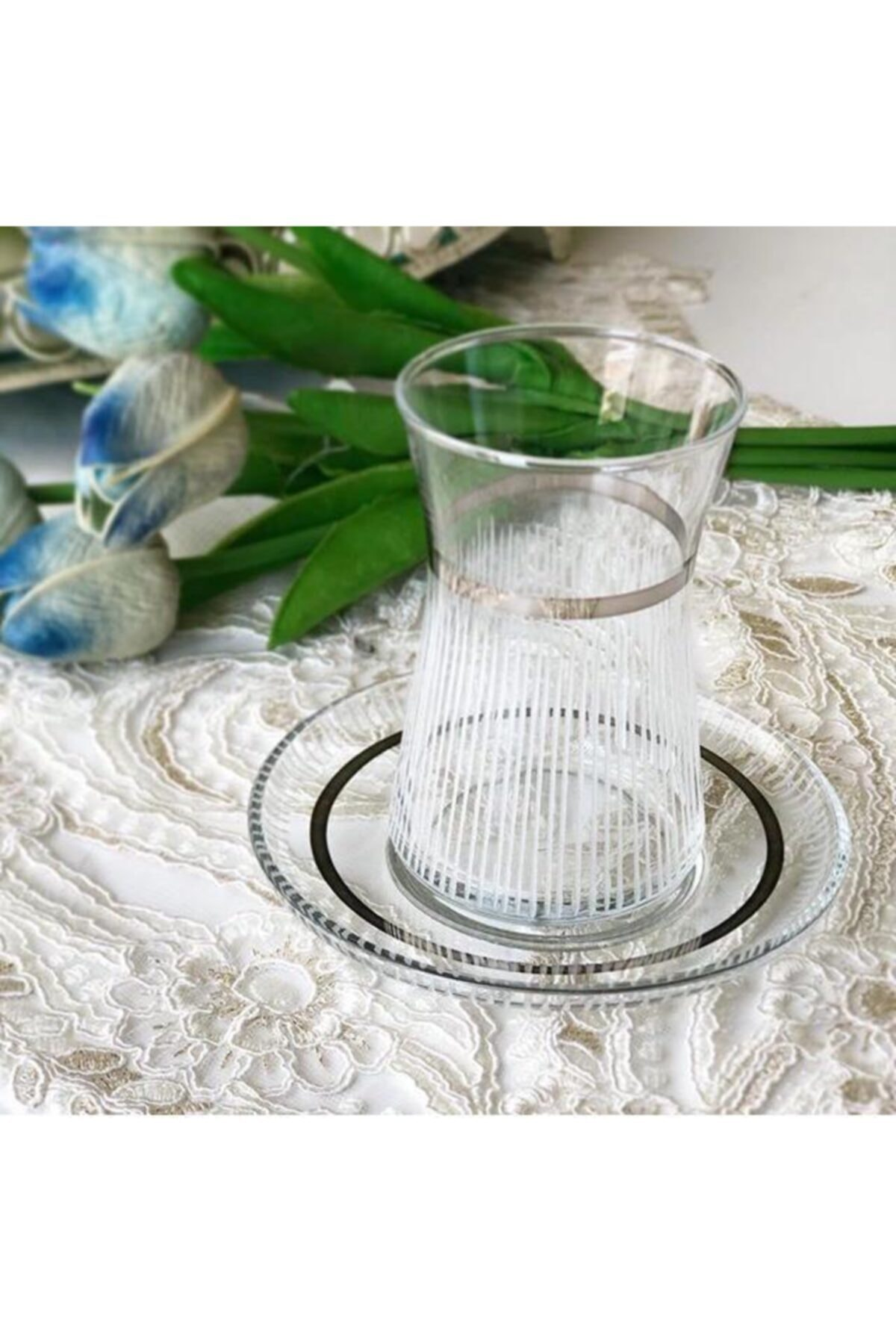 Paşabahçe El Dekorlu Desenli 6 Kişilik 12 Parça Çay Cam Bardağı Seti 2