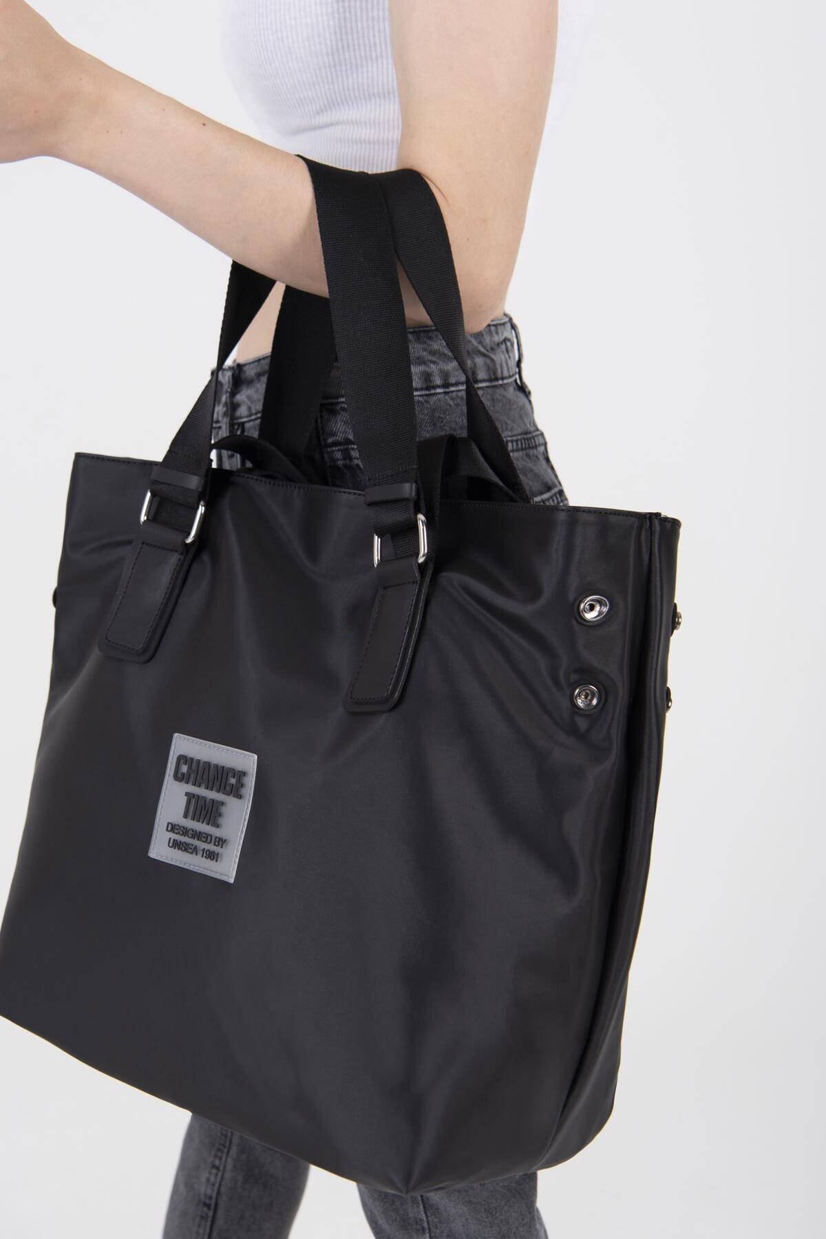 Addax Kadın Siyah Çıtçıt Detaylı Büyük Çanta Ç3215 - F9 ADX-0000022923 2