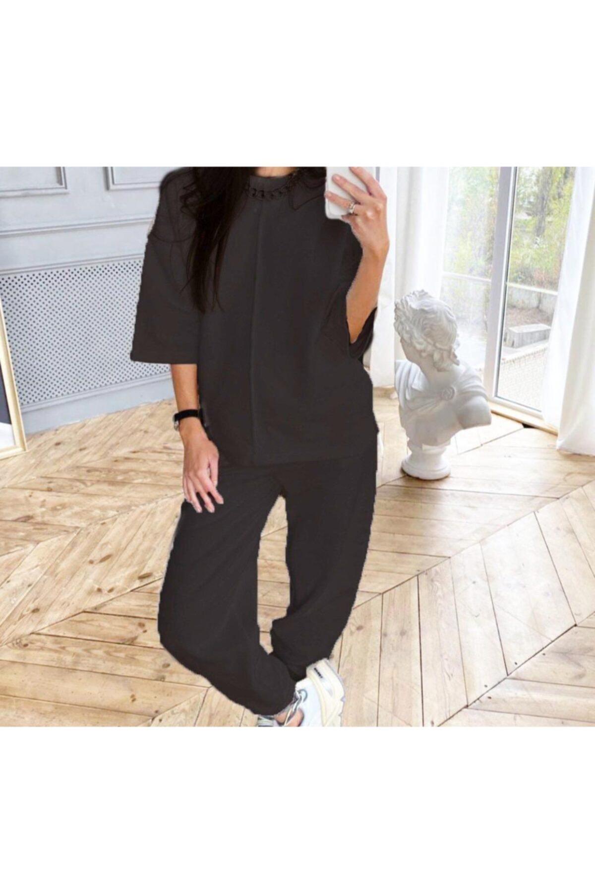 TREND Kadın Siyah Renk Rengi Örme Alt Üst Eşofman Takımı Pantolon 1