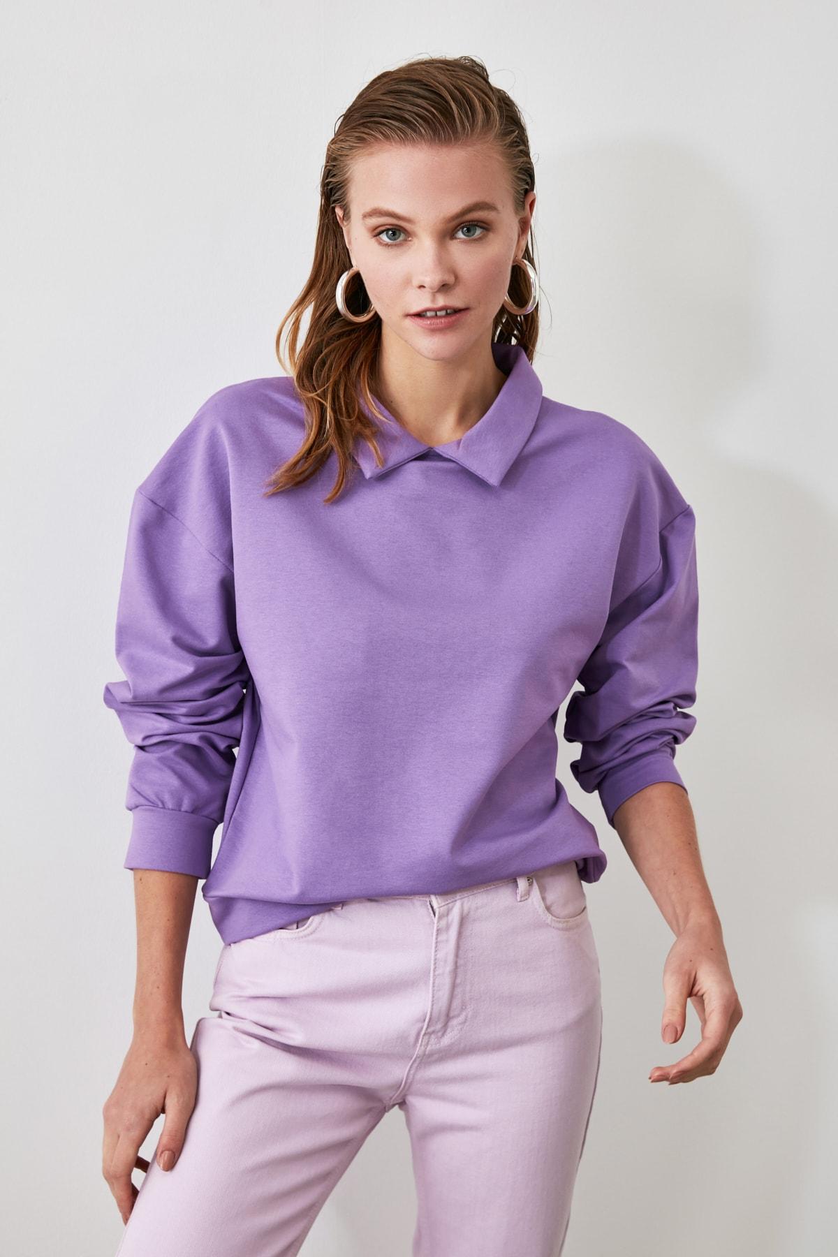 TRENDYOLMİLLA Lila Gömlek Yaka Basic Örme Sweatshirt TWOAW21SW0042 1