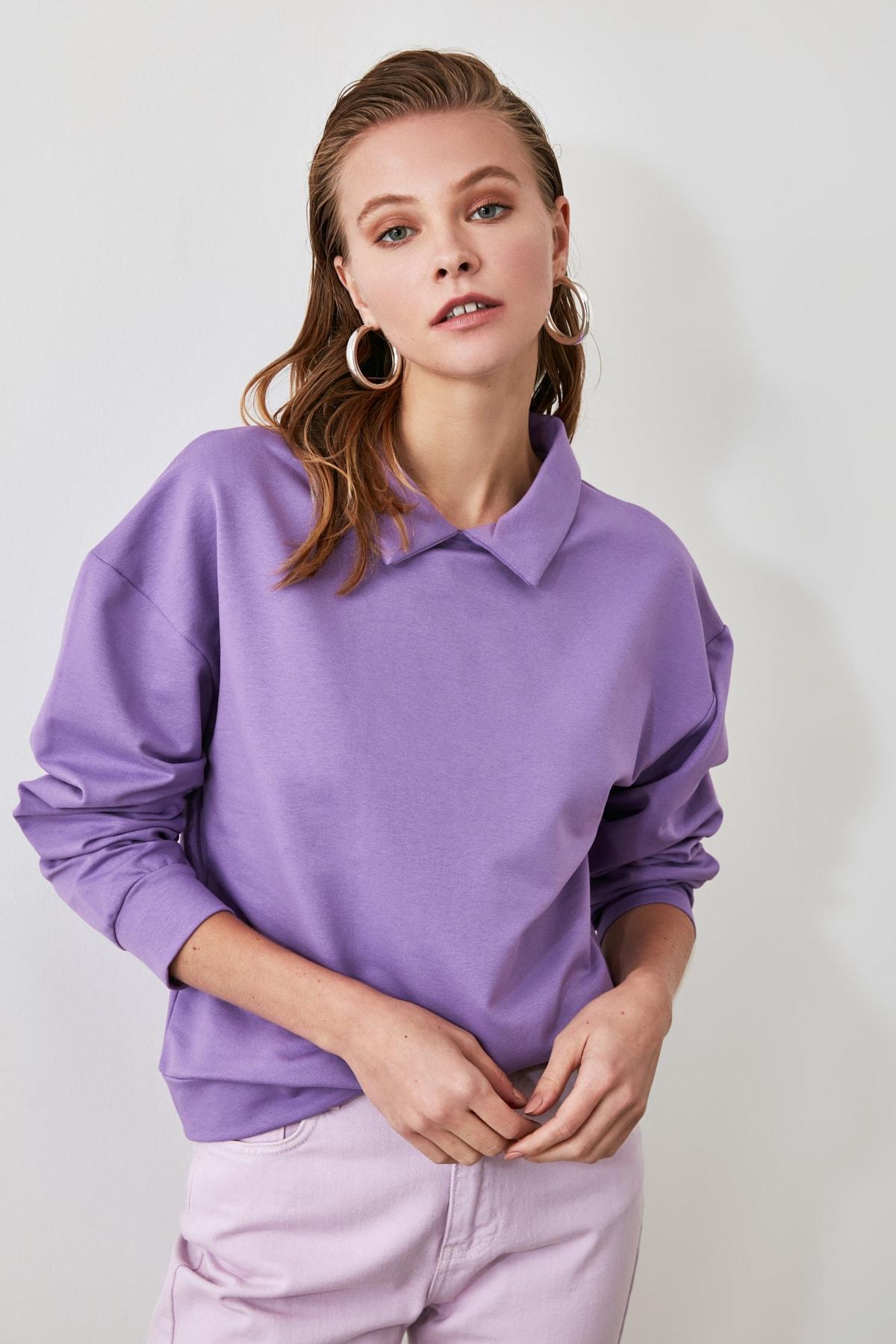 TRENDYOLMİLLA Lila Gömlek Yaka Basic Örme Sweatshirt TWOAW21SW0042 2