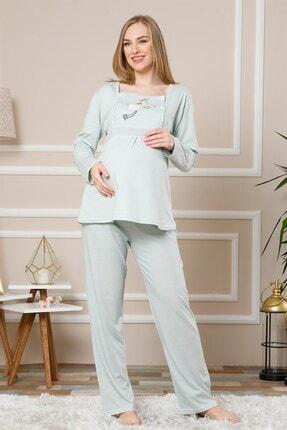 Akbeniz Su Yeşili Renk Pamuklu Hamile Pijama Takımı
