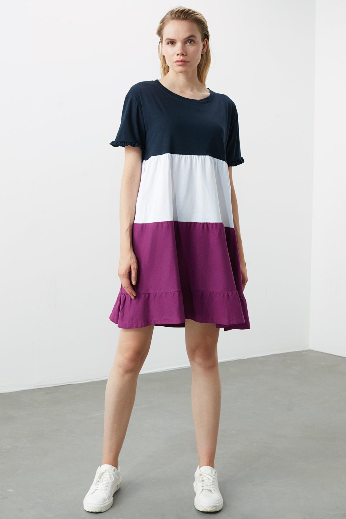 TRENDYOLMİLLA Lacivert Renk Bloklu Örme Elbise TWOSS20EL1638 2