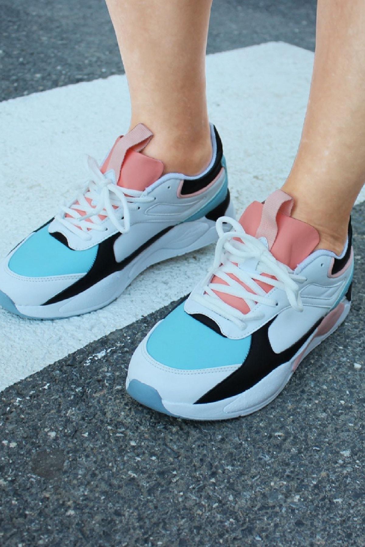 Jump Kadın Spor Ayakkabı 24772 Beyaz-Mavi 20S0424772 2
