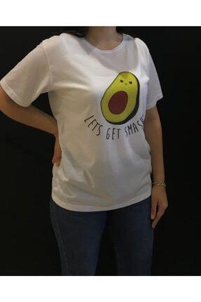 Panda Unisex Beyaz Avakado Baskılı T-shirt