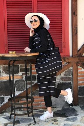 Minel Kadın Siyah Çizgili Tam Kapalı Tesettür Mayo 2'li Set