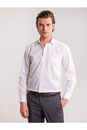 Dufy Beyaz Armür Kendinden Desenli Büyük Beden Erkek Gömlek - Battal
