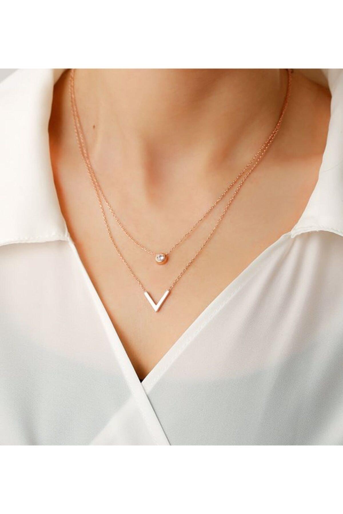 Gümüşistan 925 Ayar Gümüş Çift Zincir Trend Kolye 1
