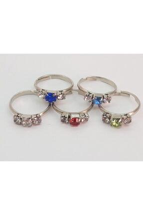 Özel Yapım Trendyıldızı 5 Adet Üç Taşlı Kız Çocuk Yüzüğü