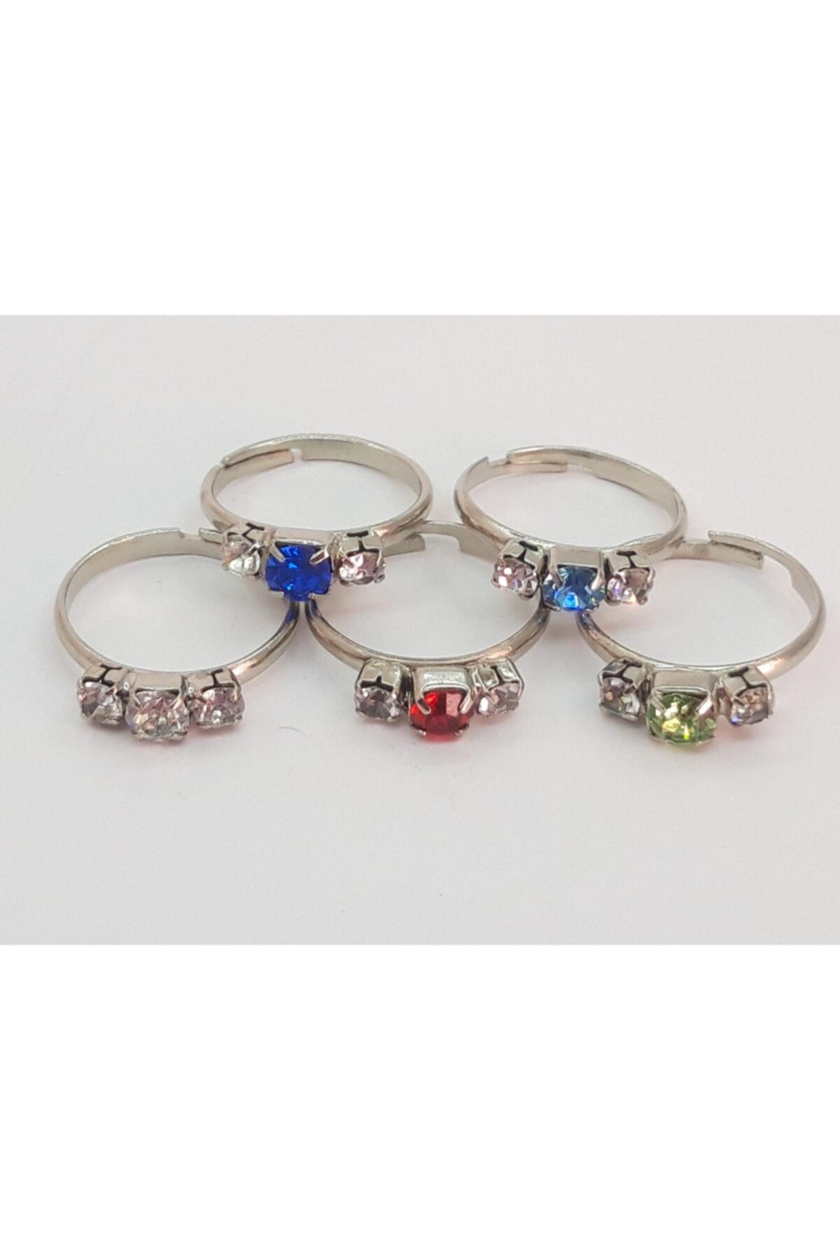 Özel Yapım Trendyıldızı 5 Adet Üç Taşlı Kız Çocuk Yüzüğü 1