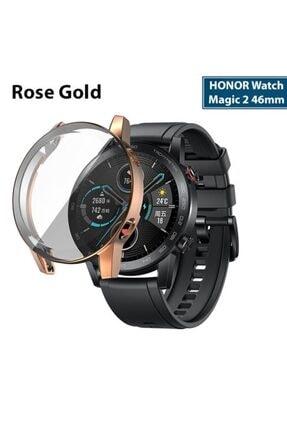 HONOR Watch Magic 2 46mm 360 Koruma Ultra Ince Silikon Kılıf - Rose Gold