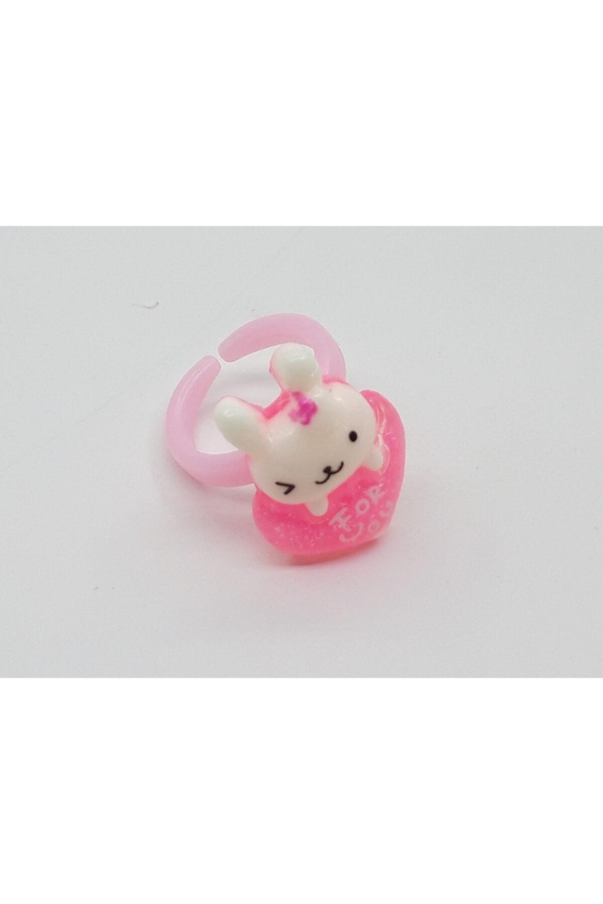 Trendyıldızı Tavşan Figür Pembe Kalpli Çocuk Yüzüğü 1