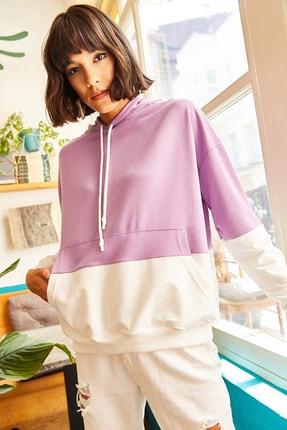 Olalook Kadın Mor 2 Renkli Oversize Sweatshirt SWT-19000228