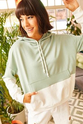Olalook Kadın Mint Yeşili 2 Renkli Oversize Sweatshirt SWT-19000228