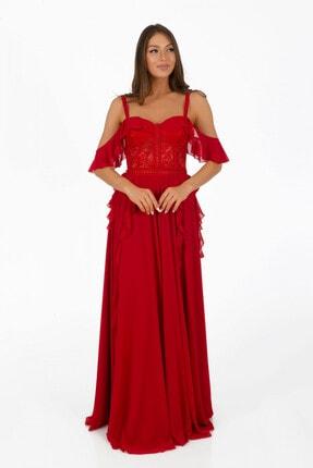 Pierre Cardin Kadın Kırmızı Volanlı Üstü Dantel Yırtmaçlı Abiye Elbise