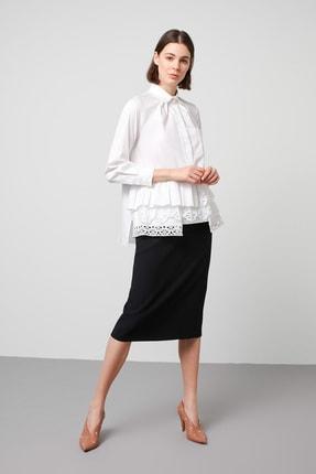 Machka Kadın Beyaz Katmanlı Beyaz İş Mixli Gömlek MS1200025001002
