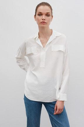 İpekyol Kadın Ekru Fırfır Şeritli Gömlek