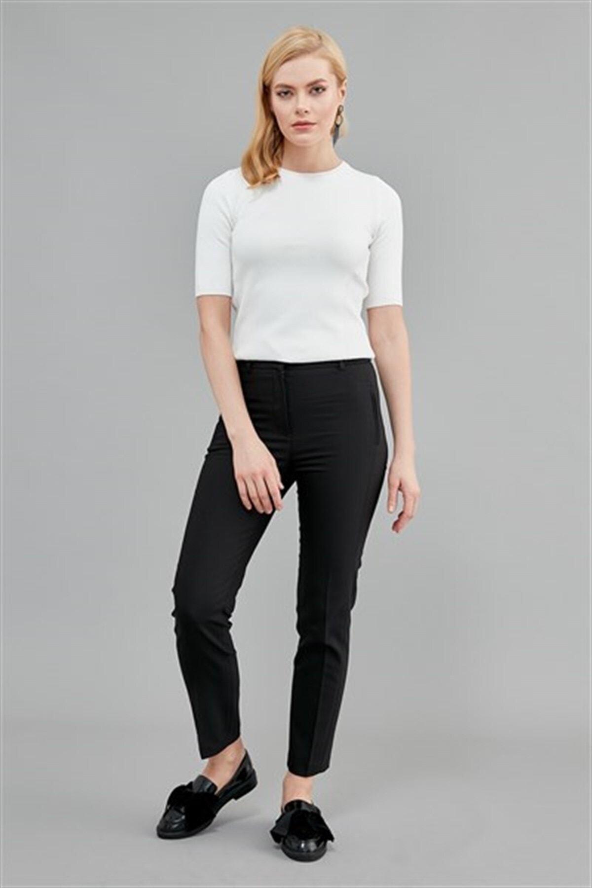 Journey Kadın Siyah Pantolon Ön Gizli Fermuarlı Dikey Fleto Cep,dar Paça 19kpnt491 1