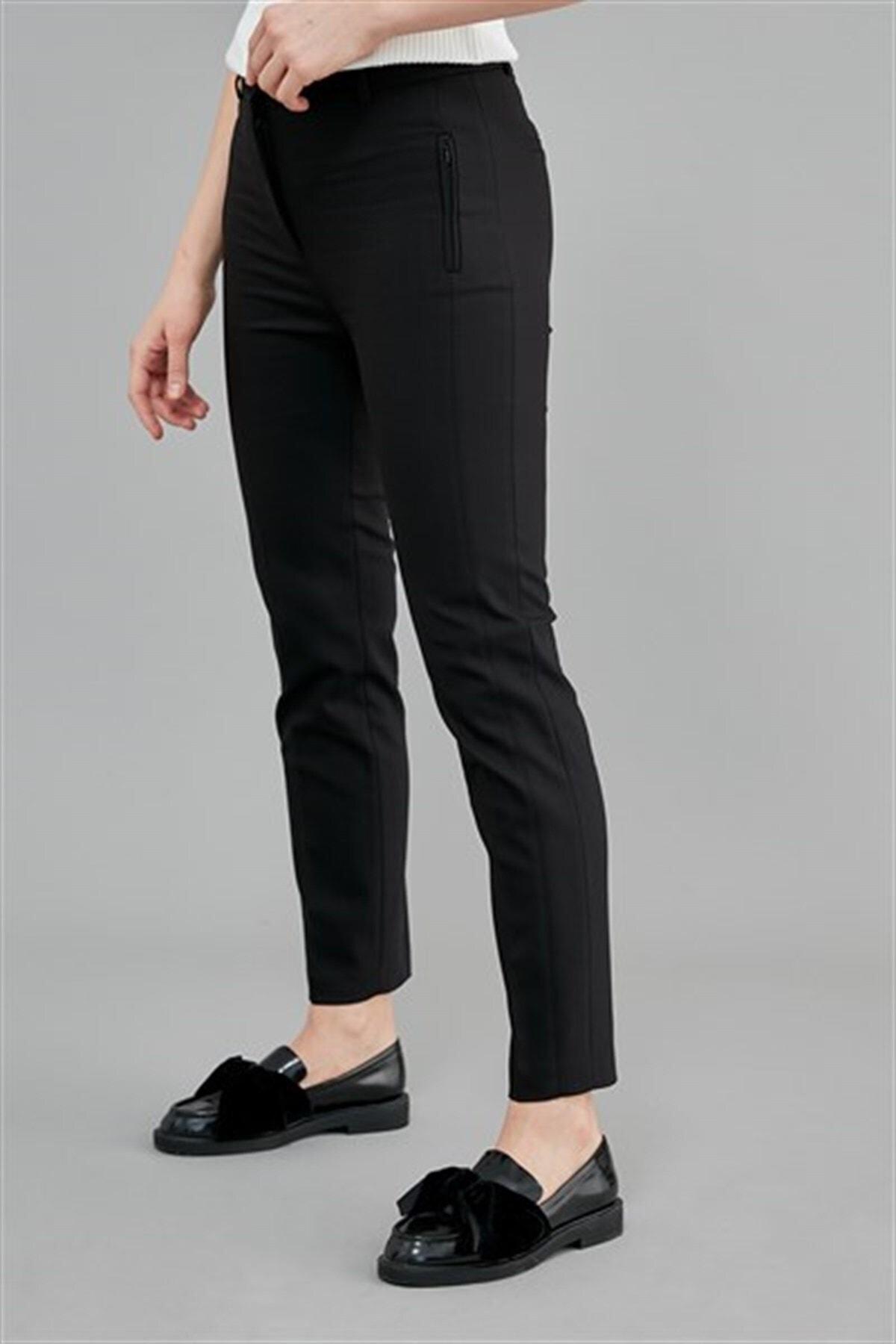 Journey Kadın Siyah Pantolon Ön Gizli Fermuarlı Dikey Fleto Cep,dar Paça 19kpnt491 2