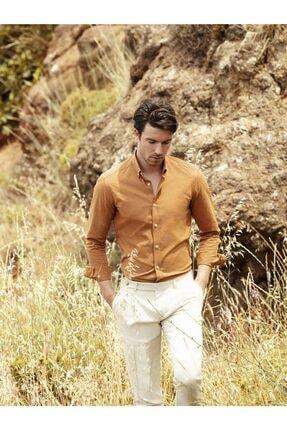 Dufy Erkek Bakır Düz Pamuklu Nefes Alabilen Slım Fıt Gömlek