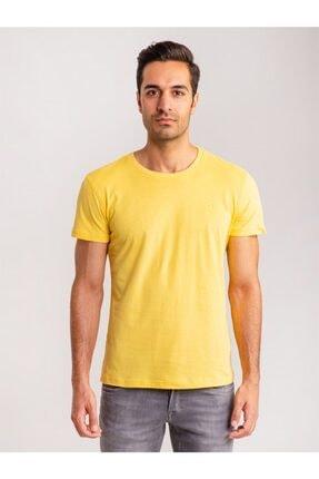 Dufy Sarı Pamuklu Fırçalı Süprem Erkek T-shırt - Modern Fıt